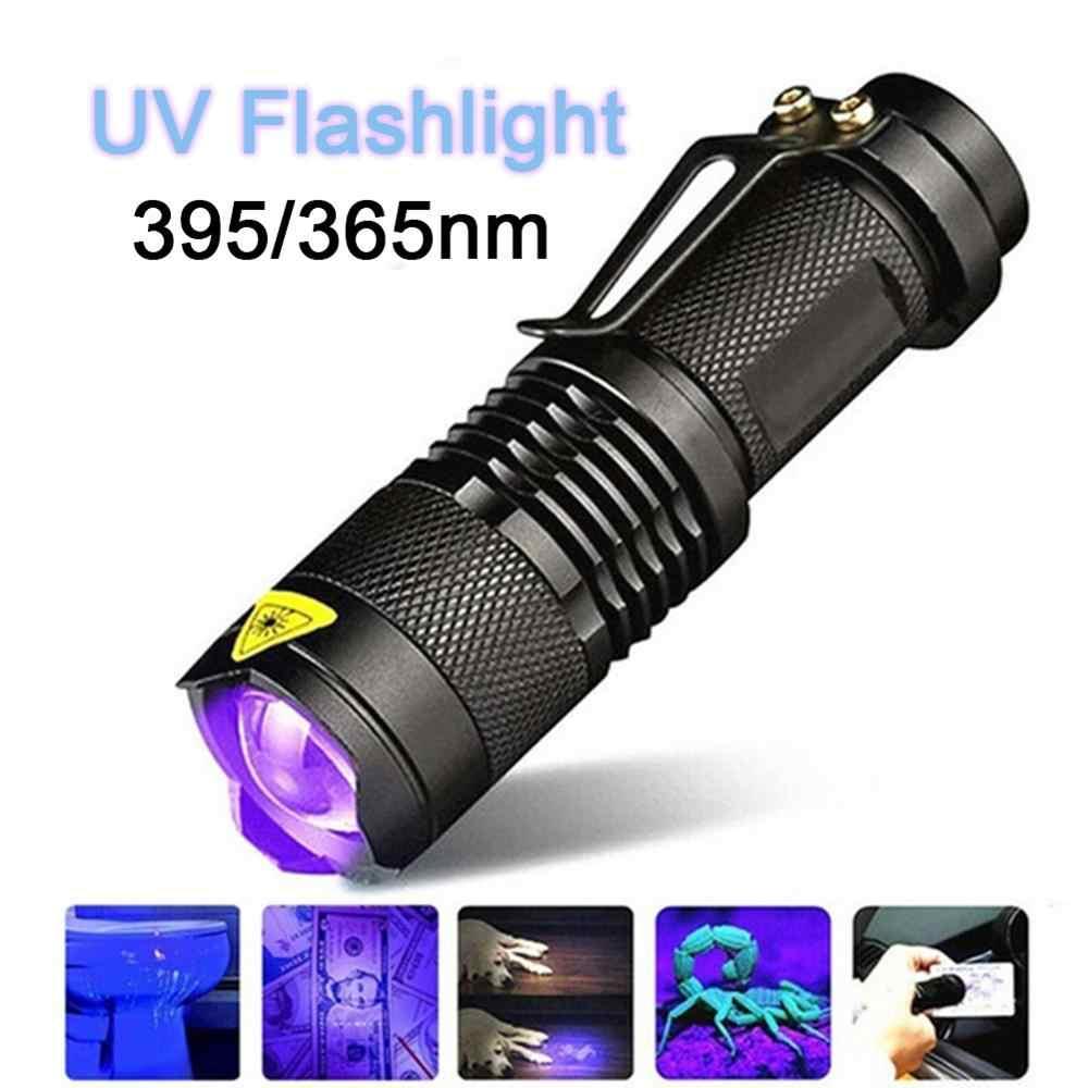 Ręczna przenośna latarka ultrafioletowa 395nm/365nm lampa podrobiona maska lampa fluorescencyjna wykrywanie fioletowe światło