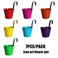 7 Pcs/Pack Metal Iron Flower Pot Vase with Detachable Handle Hanging Corridor Aisle Balcony Garden Home Office Decoration