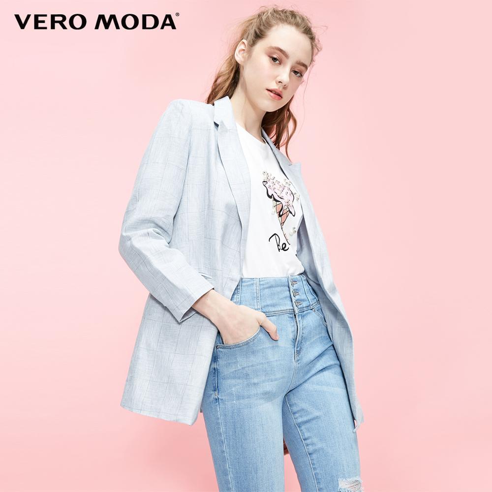 Vero Moda Women's 100% Linen Plaid Blazer | 319208516