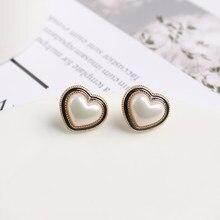 KXR-pendientes coreanos con forma de corazón en blanco crema, pendientes de perlas acrílicas, 2021