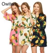 Cotton Pineapple Floral Robe women bride robe Gown Bride Wedding kimono robe YX1