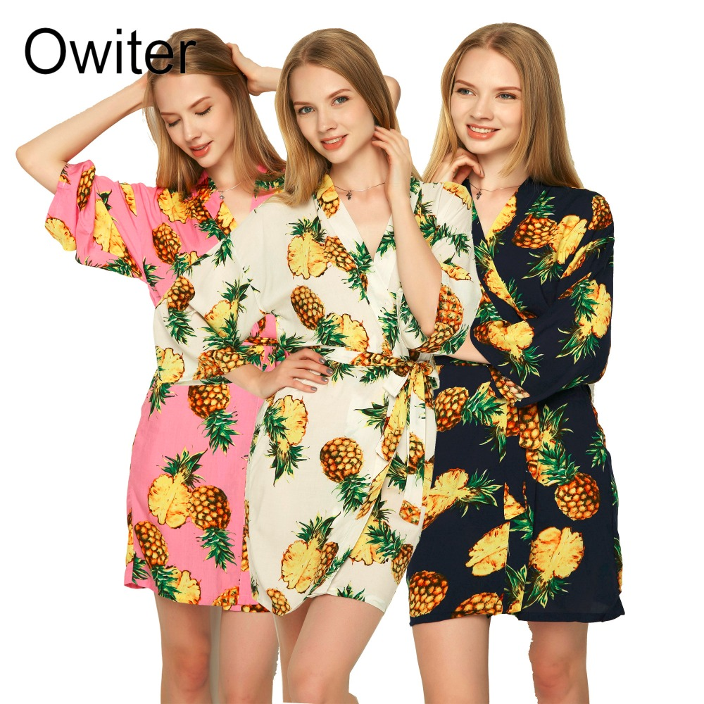 Owiter Cotton Pineapple Floral Women Bride Robe Gown Wedding Kimono Sexy Sleepwear Robes Lingerie Bridesmaid Robe Other Clothes