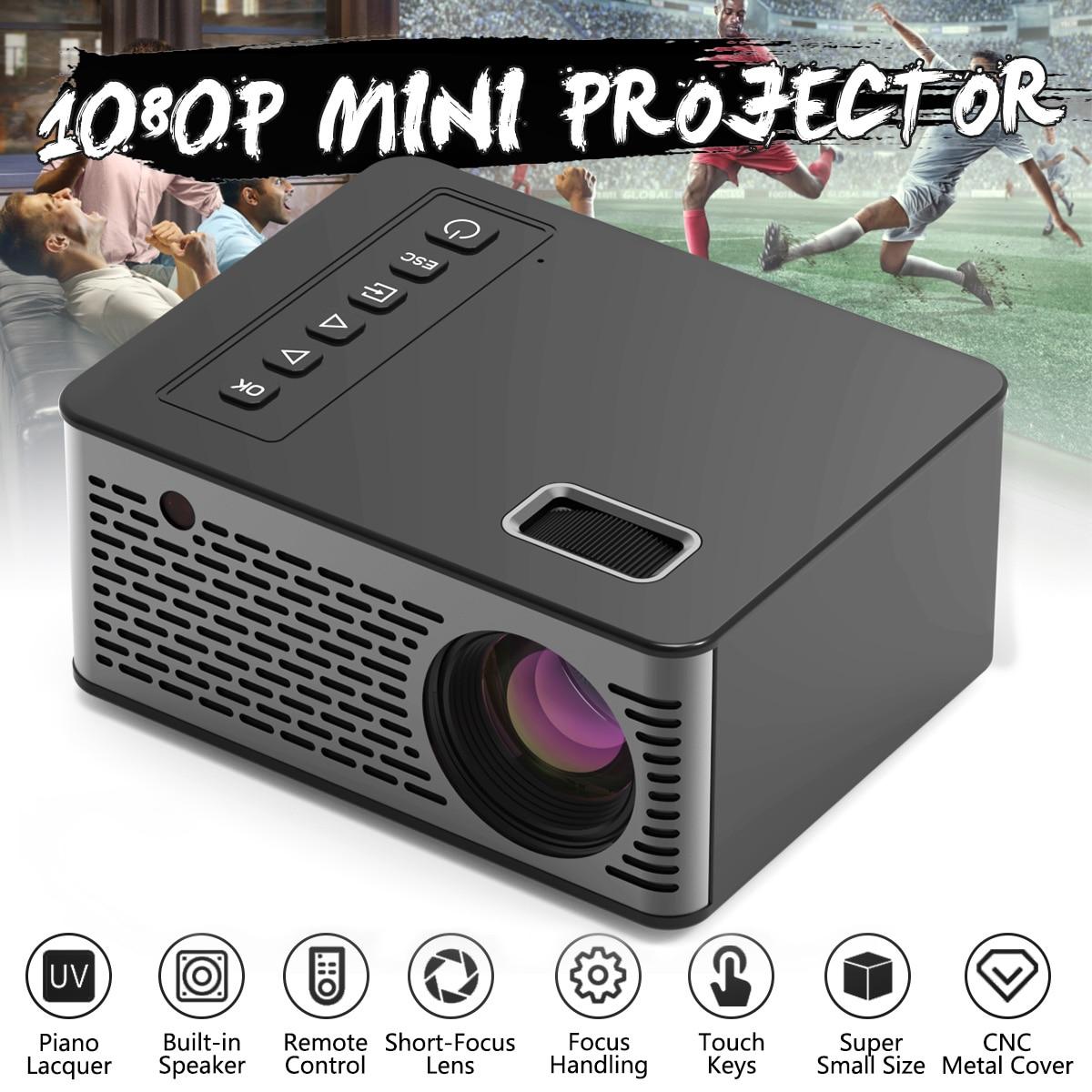 110-240V 1080P HD LED Light Source Design Portable Home Cinema Projector Adjustable Built-in Lens Beamer AV//HDMI//USB//TF Green US Mini Projector