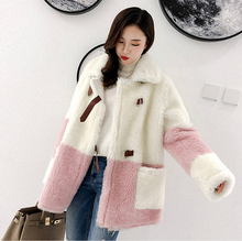 Vrouw Faux Lam Wollen Jas Jas Winter Warm Fluffy Jas(China)