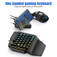 39-Key One-Handed Keyboard Left-Hand Gaming Keyboard RGB Backlight with V11 2400DPI Wired Gaming Mouse RGB Backlight Mouse цена