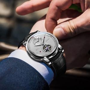Image 3 - בורמן אוטומטי גברים שעון יוקרה מותג מכאני עצמי רוח שעוני יד רצועת עור שמלת relogio masculino הכפול אזור הזמן