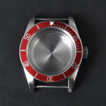 41mm Corgeut Sapphire Glass Aluminum Red Bezel Watch Parts stainless steel Case Dial Fit ETA  2836 or miyota 82 series