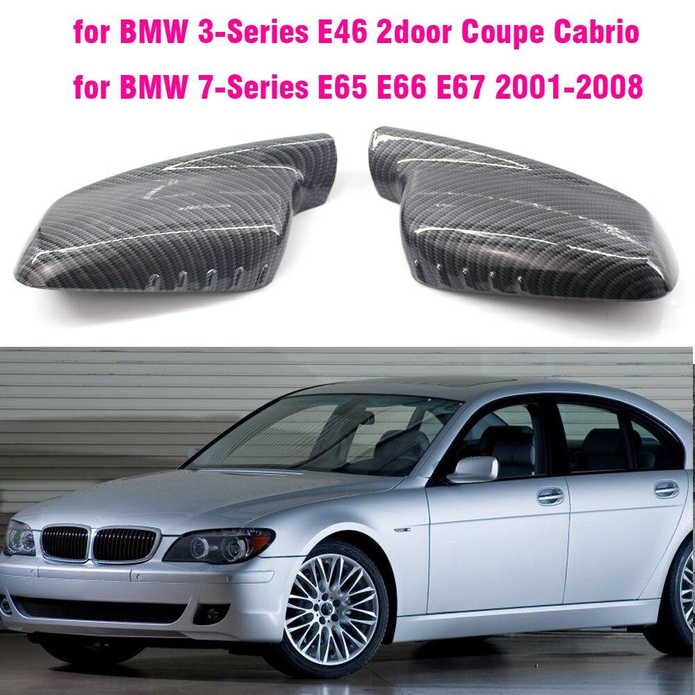 Зеркало заднего вида крышка Кепки углеродного волокна/черного цвета для BMW E46 E65 E66 E67 2001 2002 2003 2004 2005 2006 760Li 730Li 740Li