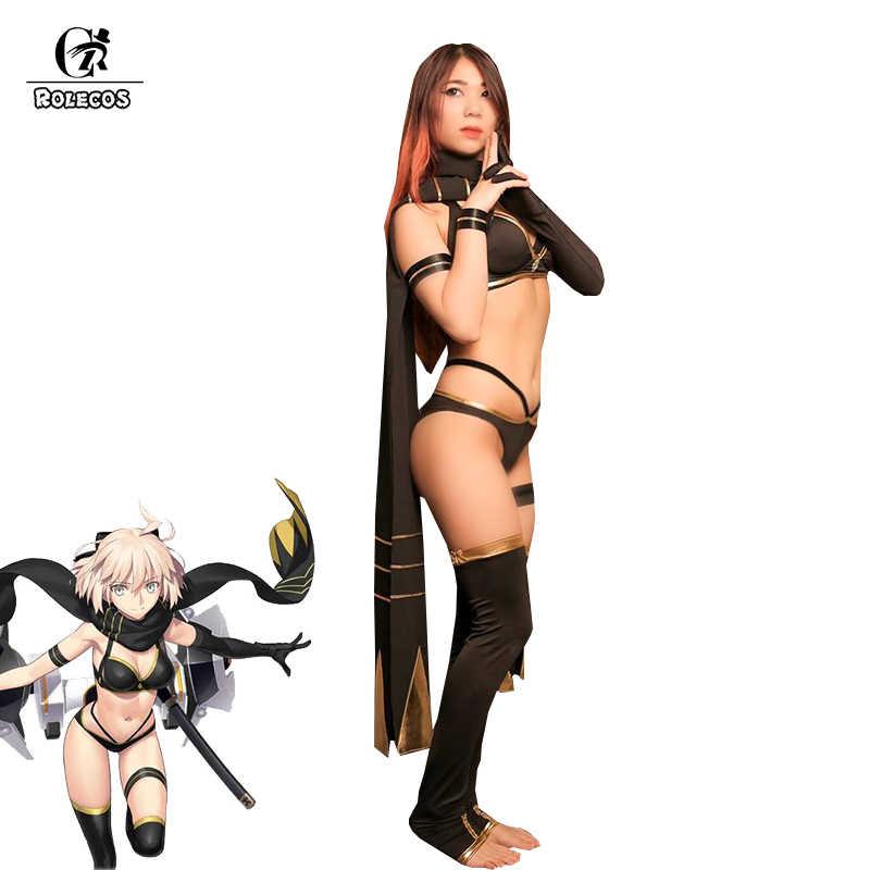 ROLECOS Spiel Fate Cosplay Kostüm Okita Souji Sexy Bikini Schwarz Bademode Halloween Kostüm Frauen Schicksal Grand Auftrag Badeanzug