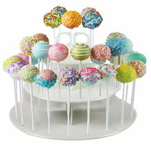 3 Tiers Snack and Cake Server 21pcs Cupcake Stand 42pcs Cake Stands Lollipop Holder white round assemble