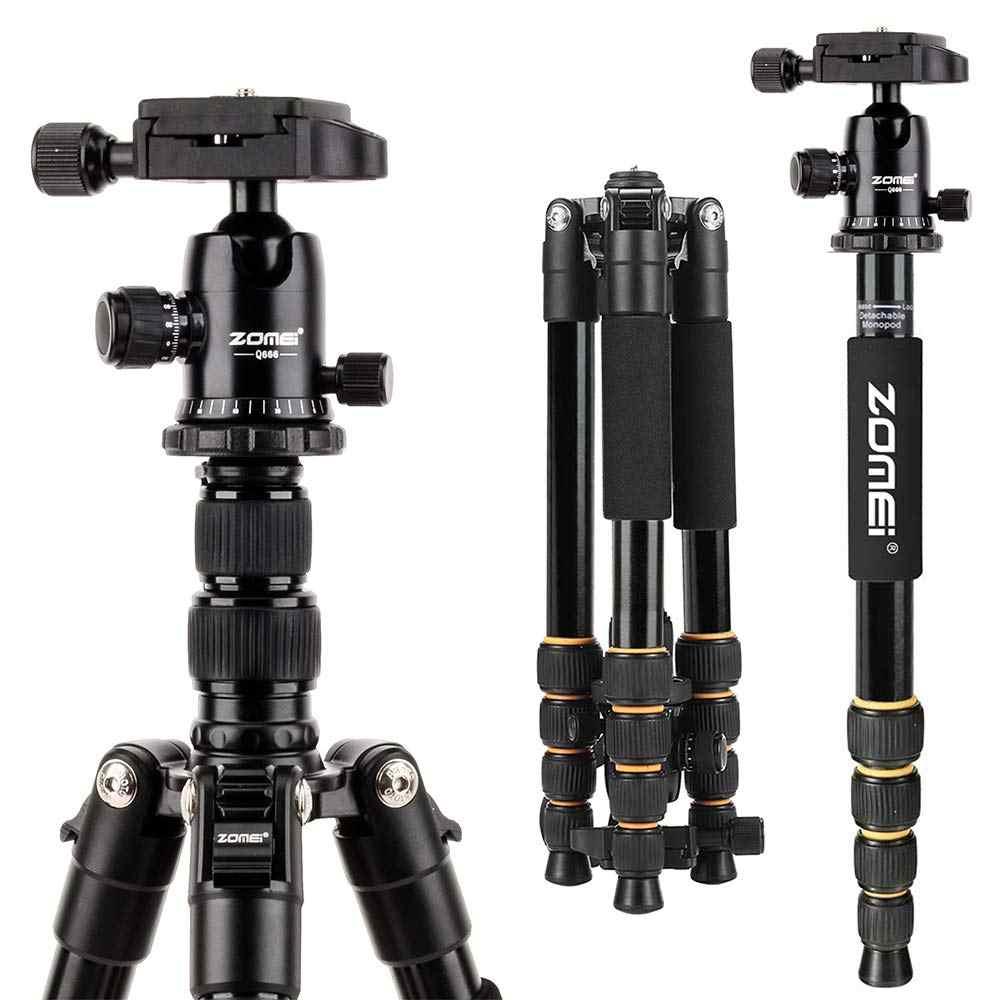 ZOMEI خفيفة الوزن المحمولة Q666 المهنية السفر كاميرا ترايبود Monopod الألومنيوم الكرة رئيس المدمجة للكاميرا SLR DSLR الرقمية