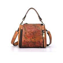 цена Vintage Women Flower Handbag Embossed Style Leather Crossbody Tote Shoulder Top Handle Bag Satchel Purse в интернет-магазинах