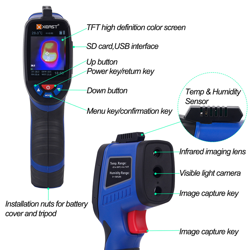 Image 3 - 2.4 inch Color Screen Handheld Thermal Imaging Camera Infrared  thermometer XE 26 XE 27 XE 28 Sries economic thermal imagerTemperature  Instruments