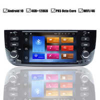 Coche Android 10,0 DVD GPS Player para FIAT LINEA PUNTO EVO Auto Radio estéreo BT Wifi Octa Core enlace espejo 4GB + 64GB mapa DVR DAB +