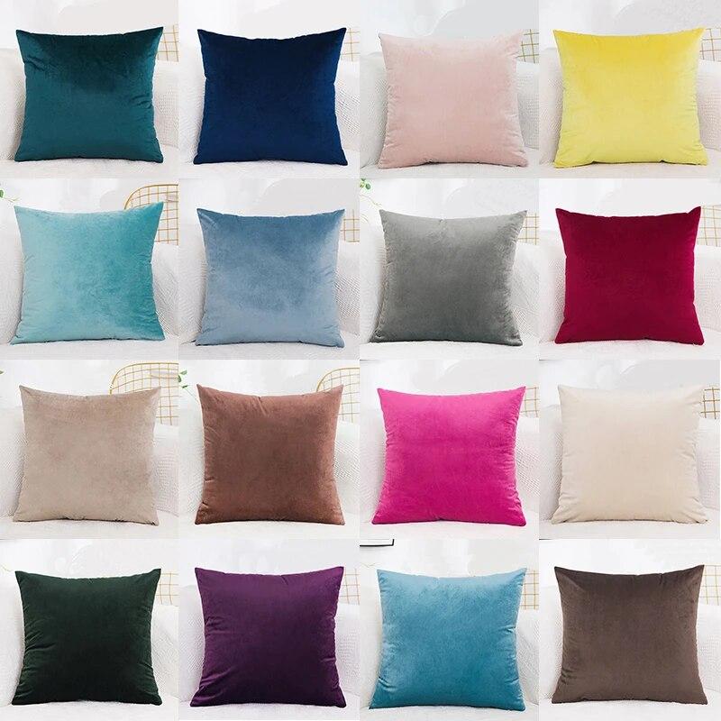 velvet cushion cover pillowcase solid color pillow case cojines decor sofa throw pillows room pillow cover decorative wholesale