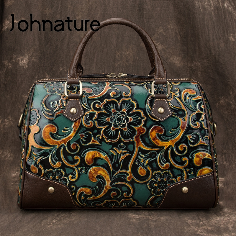 Johnature Retro Genuine Leather Women Handbags 2020 New Handmade Embossing Cowhide Luxury Female Shoulder & Crossbody Bags