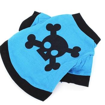 Pet Clothes Dog Puppy Blue T-shirt Shirt Coat With Black Skull Pattern Size Vests XS-L