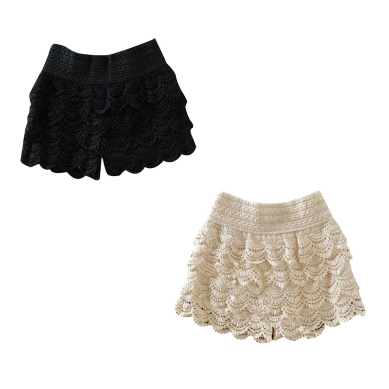 Women's Shorts Lace Crochet 2017 Summer Fashion Elastic Waist Slim Shorts