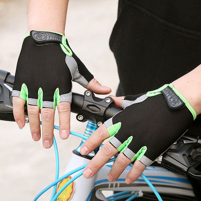 Silicone anti-derrapante anti-suor luvas de ciclismo masculino feminino metade dedo luvas respirável anti-choque esportes bicicleta luva d40 5