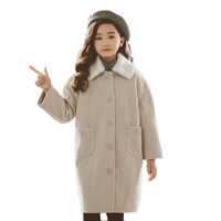 girl wool coat High quality 100% wool New Long Sleeve bebe Windbreaker spring autumn clothes Kids jacket Outwear parka
