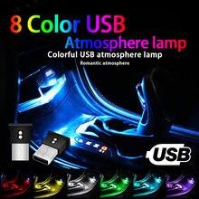 Mini usb conduziu a luz do carro auto interior atmosfera luz decorativa da lâmpada de iluminação de emergência