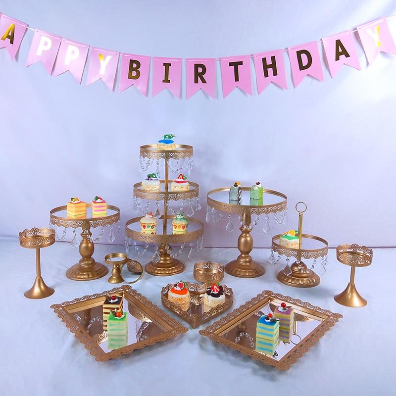 Tobs plateau présentoir à gâteaux miroir or   Plateau de décoration de gâteaux, plaque de présentation de Cupcake, porte-Dessert rond pour fête de mariage, outil fournitures de pâtisserie