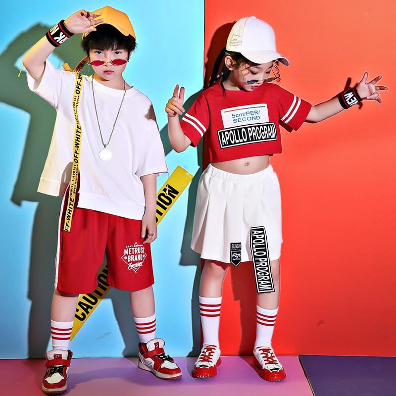 Children Hip Hop Costume Boys And Girls Street Dance Red Clothing Jazz Dance Costumes Kids Catwalk Show Stage Wear DQL1987