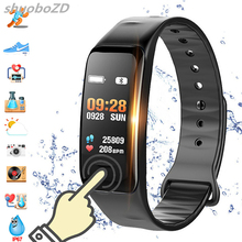 shuoboZD C1Plus Smart Bracelet Color Screen Blood Pressure Fitness Tracker Heart Rate Monitor Band Sport for Android IOS