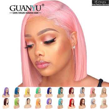 Pink Bob Lace Front Wigs Human Hair 13X4 Pre Plucked 613 Blonde Blue Red Grey Green Ombre Short Bob Wigs For Black Women Remy 1