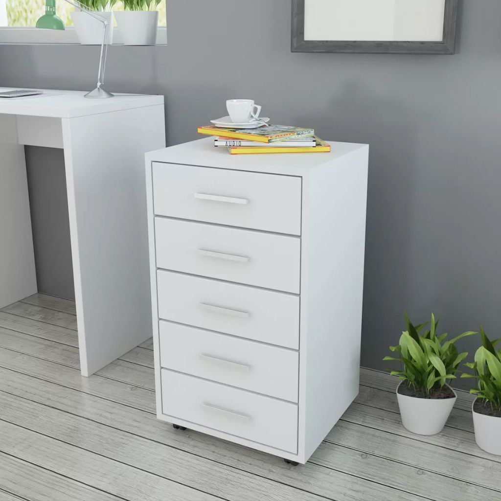 VidaXL Office Drawer Unit With Castors 5 Drawers White