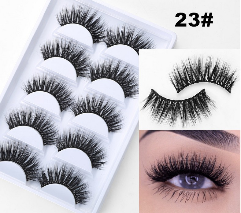 5 Pairs Of Eyelashes Natural Long Section 3D Artificial Mink  Lashes Eyelashes Thick And Realistic Curling Soft Eyelash Extensio