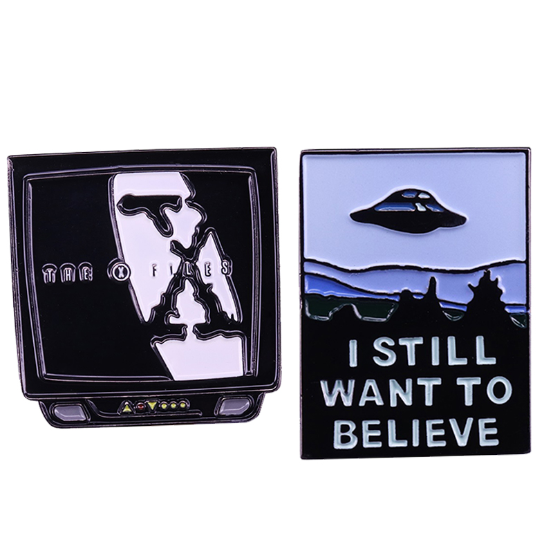 Xfile Brooch I Still Want To believe Enamel Pin iV Spaceship Badge Accessory