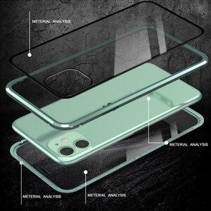 Image 4 - Dla iPhone 11 Pro Max przypadku luksusowe magnetyczne anty ciekawski z przodu z tyłu szkło hartowane 360 magnes Antispy ochronna pokrywa Coque
