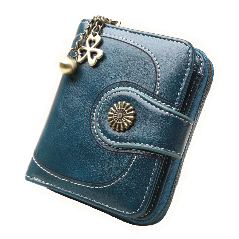 Women's Hot Selling Purse Cross Border Currently Available Wholesale Oil Skin Clutch Retro Oil Wax Leather Coin Bag Wallet H828