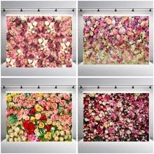 Arrière-plan mural en vinyle pour photographie de mariage, décor de décor floral Rose pour fête d'anniversaire, réception de bébé