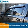 Боковые оконные дефлекторы Mazda Bt-50 2006 2007 2008 2009 2010 2011 Черный Автомобильный дефлектор для защиты от ветра защита от солнца и дождя SUNZ