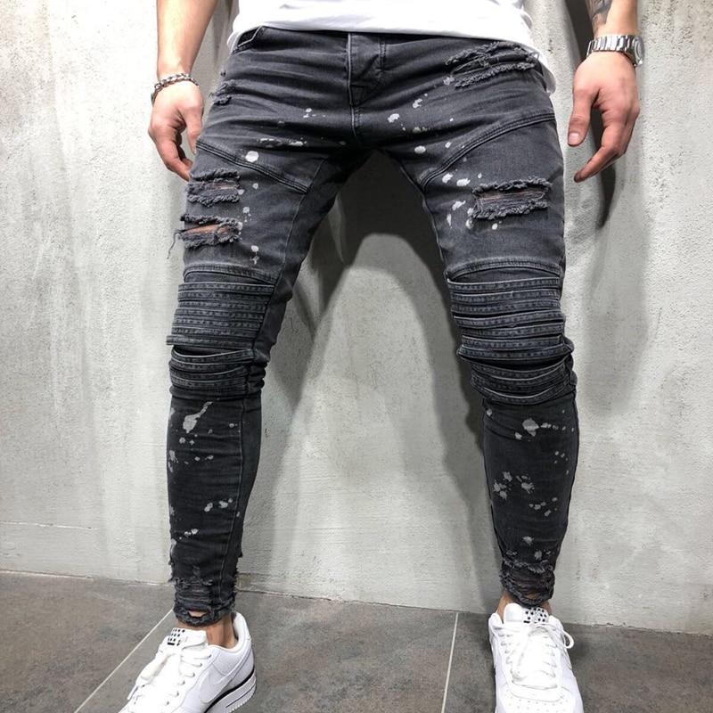 OLOME Fashion Men Hole Skinny Jeans Male Biker Hip Pop Biker Streetwear Mens Zipper Ripped Pants Plus Size Autumn New Bottoms