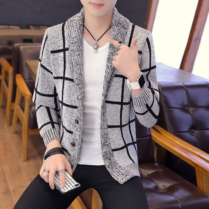 Mens Sweaters Black Blue Light Gray Lapel Thick Long Sleeve Winter Turn-down Collar Zipper Casual Thick Cardigan Sweater Men