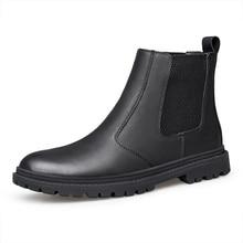 プラスサイズ男性カジュアル通気性チェルシーブーツ紳士本革シューズブラックポインテッドトゥアンクルブーツ zapato ボタ masculina hombre