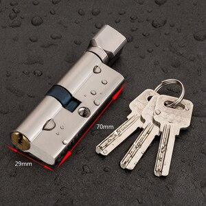 70 мм 3-клавишный дверной цилиндрический замок, Противоугонный входной латунный дверной замок, домашний замок для безопасности интерьера, сп...