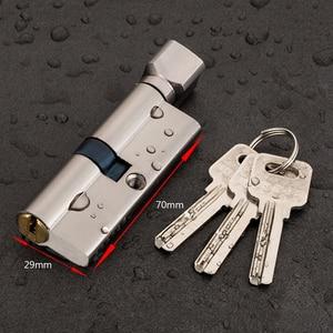 Door Cylinder Lock Biased 70mm 3 Keys Anti-Theft Entrance Brass AB Door Lock Home Security Interior Bedroom Lock Cylinder(China)