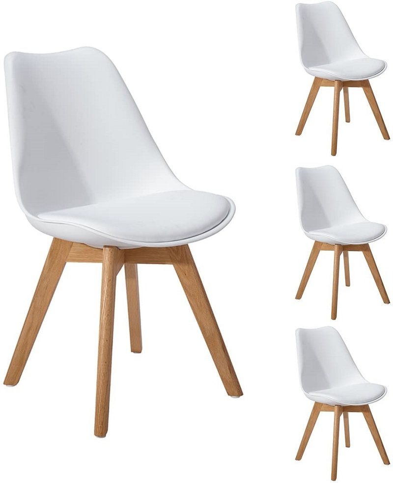 US $8.8 EGGREE Dining Chairs Modern Design Pack of 8 Retro Kitchen  Chairs With Solid Wood Oak Leg Padded Seat for DIning RoomDining Chairs -