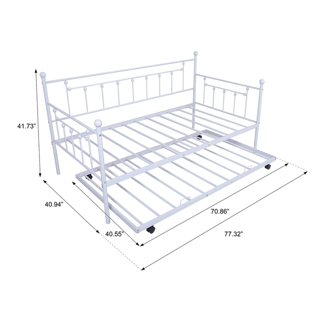Daybed Sofa Steel Bed Frame With Trundle  6