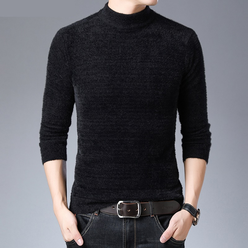 Sweater Men's Round Neck Long Sleeve Warm Knitted Sweaters Fashion Autumn Winter Bottoming Shirt