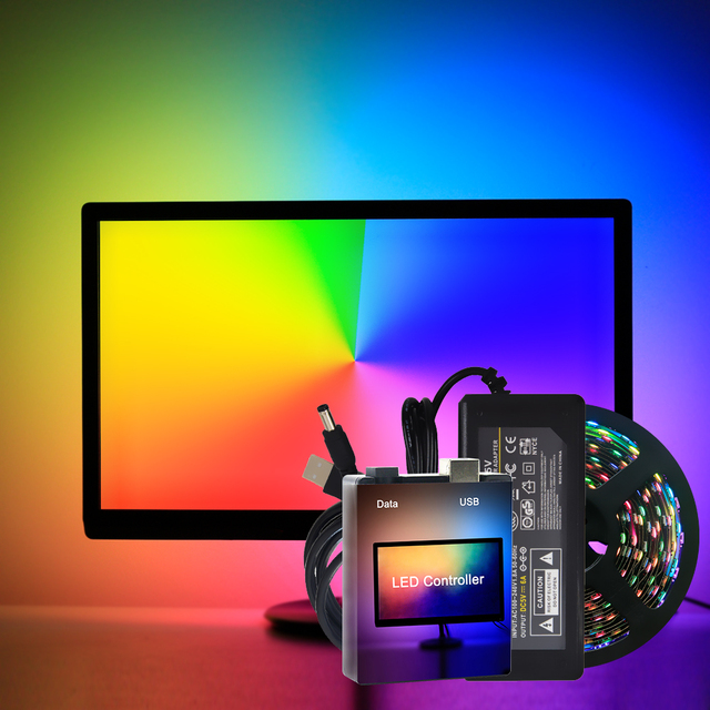 USB WS2812B LED Strip light Ambient Monitor Desktop PC Screen Backlight lighting ws2812 Pixel Tape Ribbon 1M~ 5M Kit