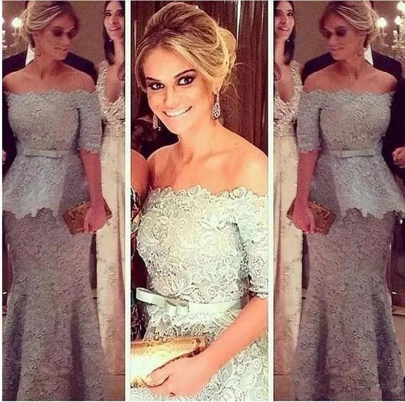 Silver Lace Mother Of The The Bride Dresses 2020 Robe De Soiree Off The Shoulder Half Length Sleeves Mermaid Evening Dress