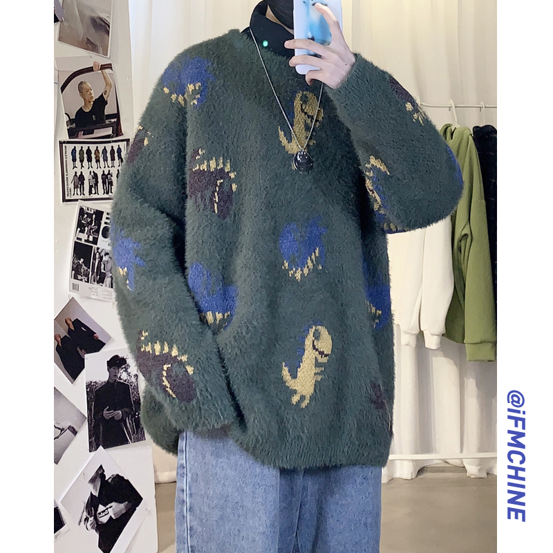 Winter Men's Real In Warm Round Neck Coats Thickening Woolen Sweaters Dinosaur Embroidery Knitting In Casual Cashmere Pullover
