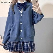 Swetry damskie słodki College styl japoński jesień moda Ins luźne dziewczyny sweter z dekoltem w serek wszystkie mecze proste popularne damskie Knitwar