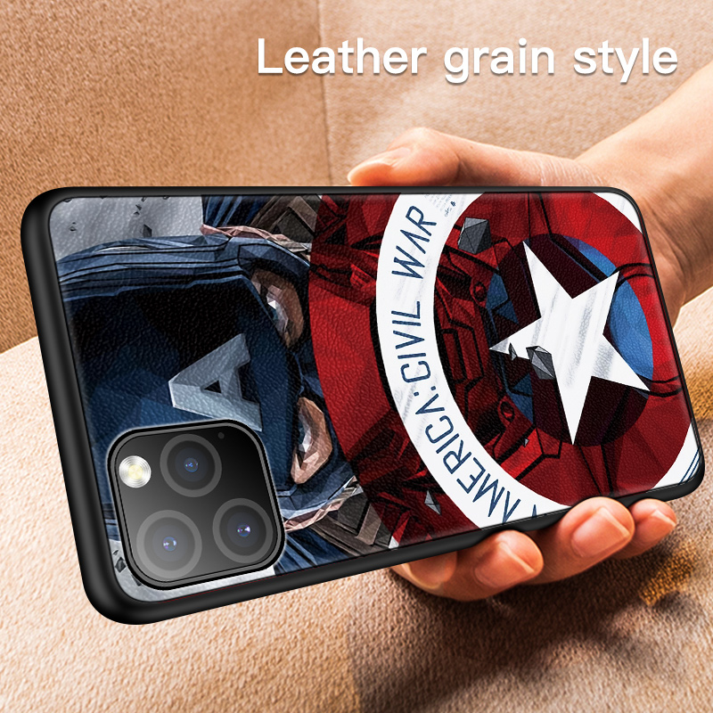 Galleria fotografica Luxury Marvel Leather Texture Case For iPhone 11 Pro Max XSmax XR XS X 8 7 6s 6 Plus Ultra-thin Skin Silicone Phone Cover Coque