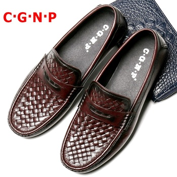 C·G·N·P High Quality Woven Pattern Genuine Leather Loafers Handmade Slip On Men Casual Shoes Breathable Men's Mocasines Hombre fashion men shoes handmade made casual shoes sneakers genuine leather shoes men lace up flats mocasines hombre dropshipping